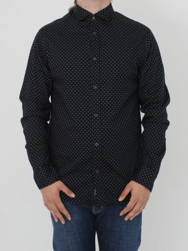 Armani Jeans Custom Fit All Over Logo Shirt - Black