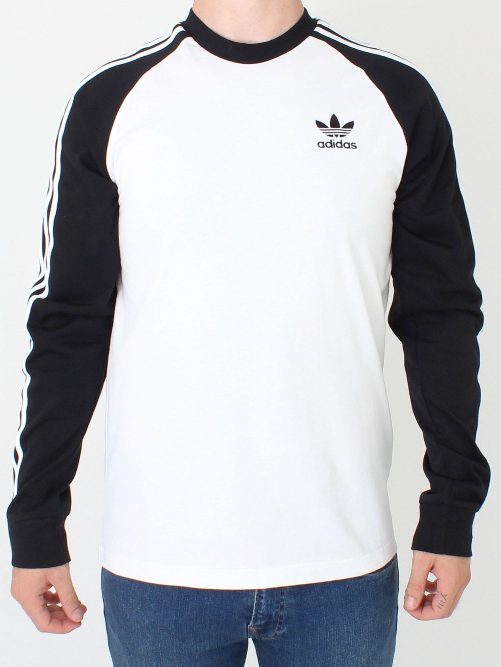 ae5c1c49767d Adidas 3 Stripe L/S T.Shirt in White | Northern Threads