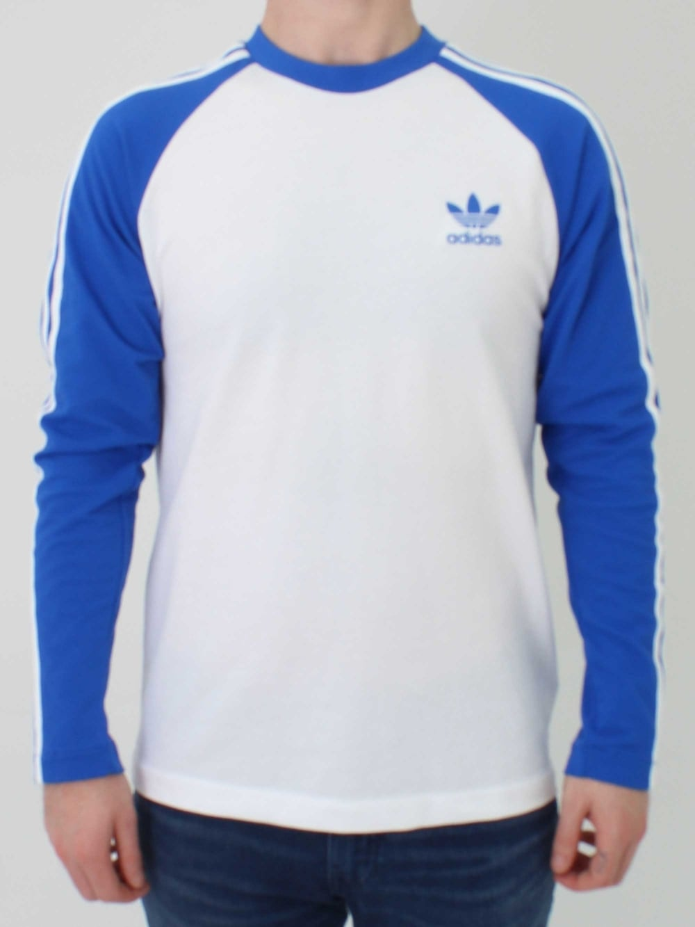 42e19f2d7e Adidas 3 Stripe Long Sleeve T.Shirt in Blue | Northern Threads