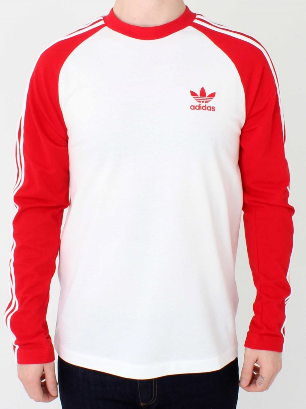 cc7932498d05a8 Adidas 3 Stripe Long Sleeve T.Shirt in Scarlet