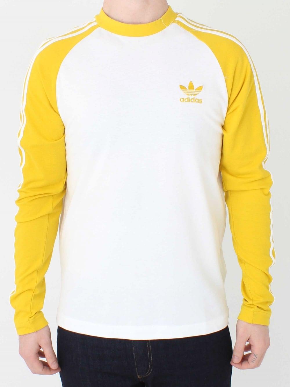 aeeb2c71 Adidas 3 Stripe Long Sleeve T.Shirt in Yellow | Northern Threads