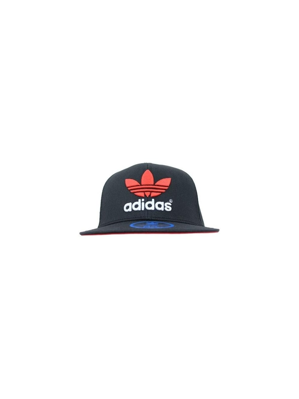 Mens adidas Originals AC Flat Cap Snapback - Black Red  e13cd2f72e1