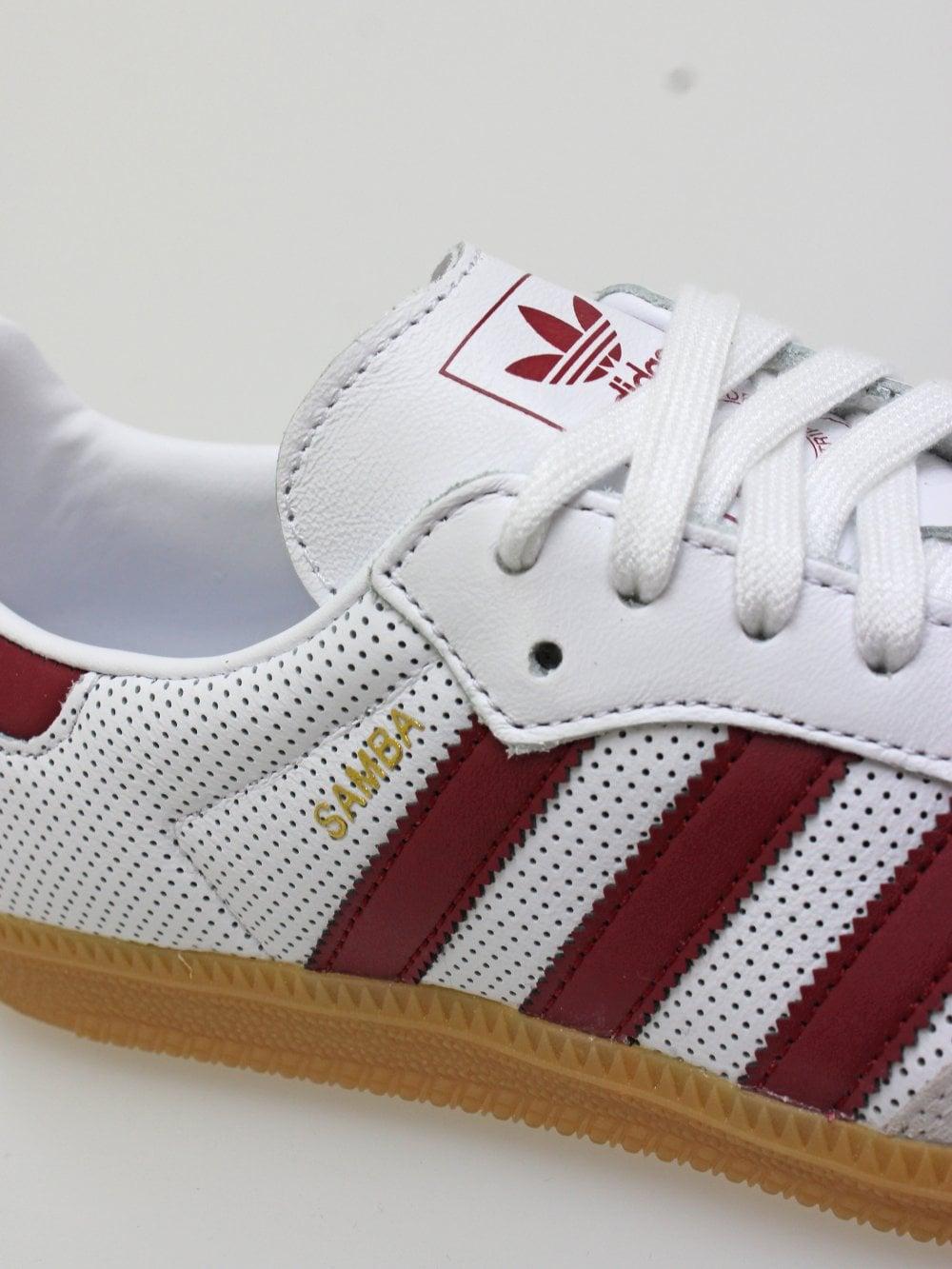 adidas Samba OG in White/Burgundy