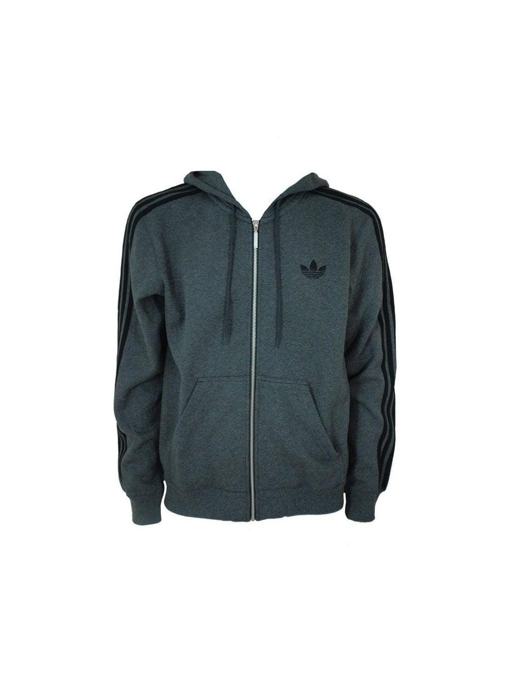 Adidas Spo Hooded Flock Jacket in Dark Grey - Northern Threads 592c6a1be