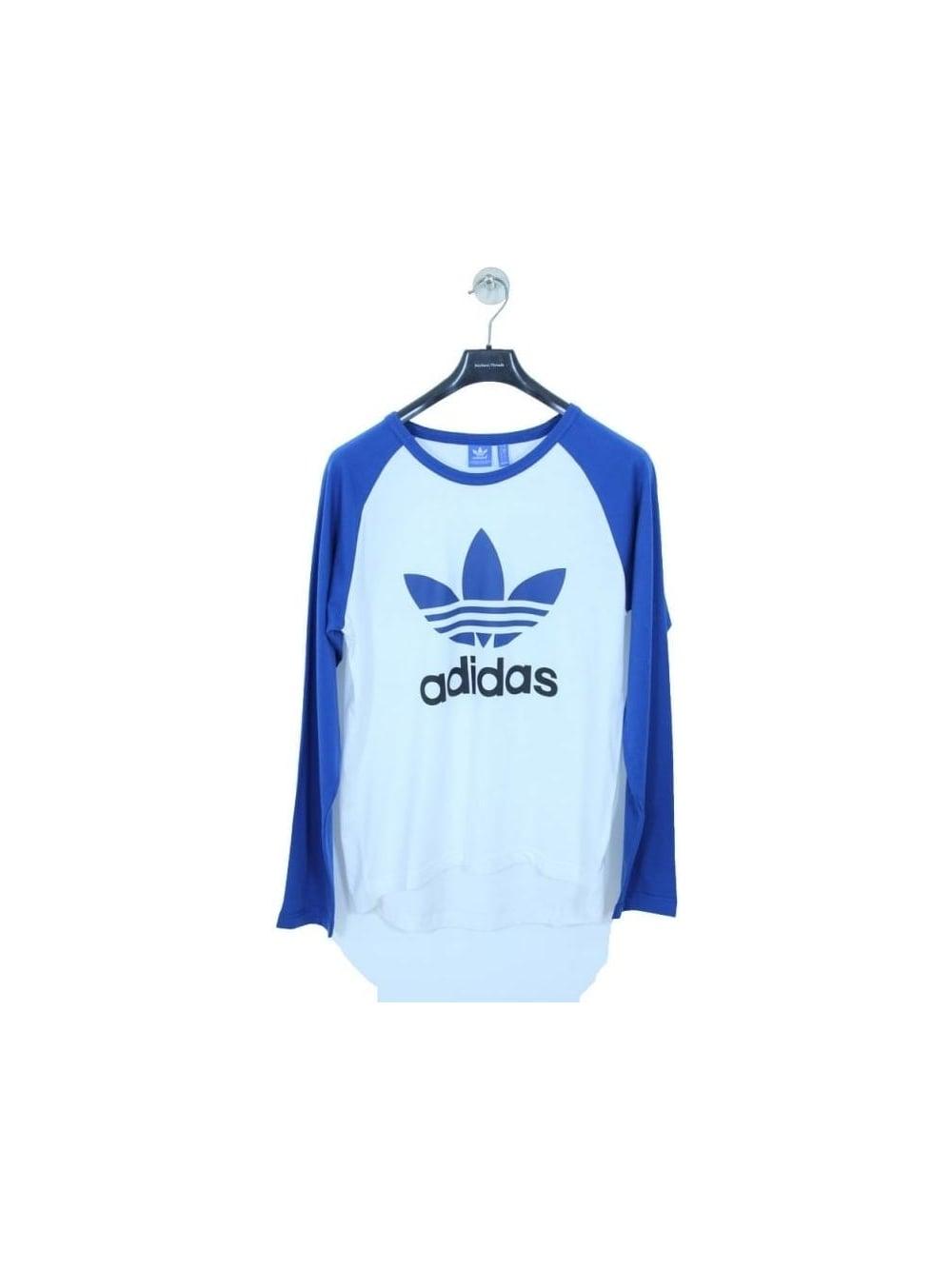 Adidas Originals Trefoil Long Sleeved T Shirt In White