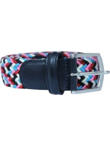 Woven Textile Belt - Pink And Black