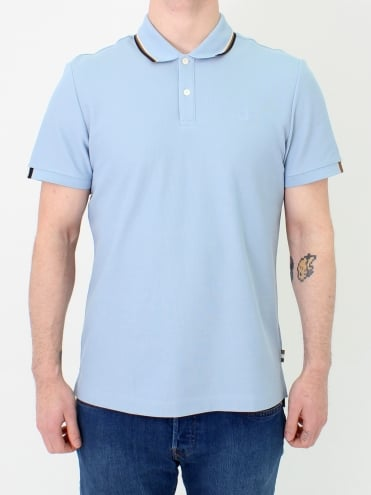 Bosley Stripe Collar Polo - Sky Blue