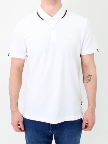 Bosley Stripe Collar Polo - White