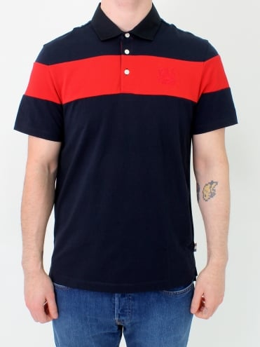 Calder Colour Block Polo - Navy
