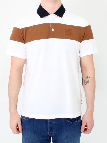 Calder Colour Block Polo - White