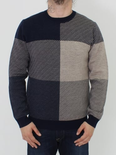Clapton Check Knit - Navy