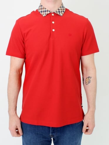 Coniston Club Check Polo - Coral Red