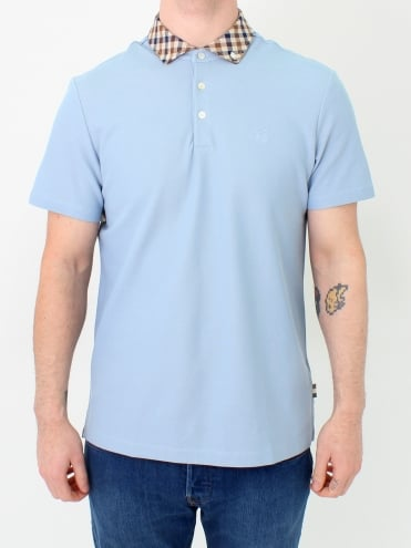 Coniston Club Check Polo - Sky Blue