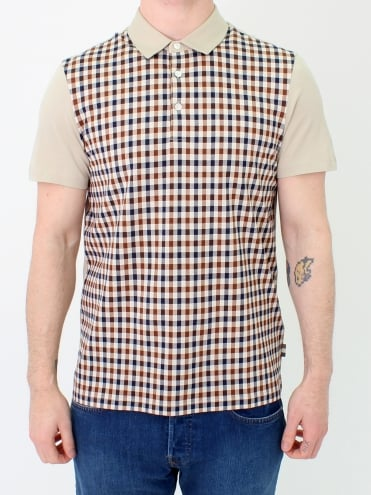 Dillon Club Check Polo - Beige/Vicuna