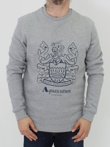Ives Crest Crew Neck Sweat - Grey Marl