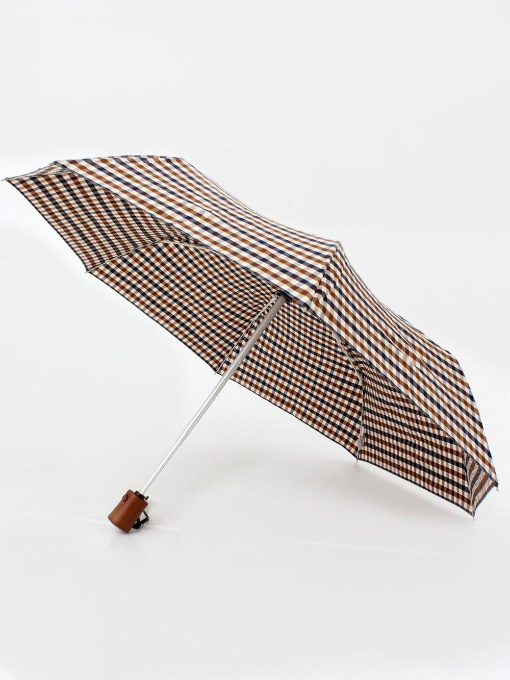 Aquascutum Small Club Check Umbrella Vicuna