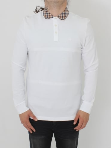 Nathan Club Check L/S Polo - White