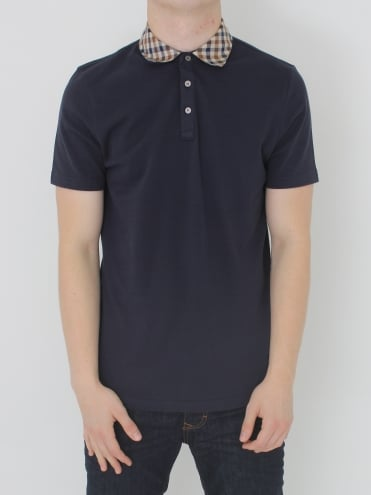 Nathan Club Check S/S Polo - Navy