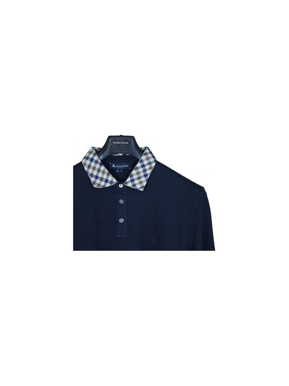 Navy Aquascutum Men`s Nathan Housecheck Collar Polo Shirt