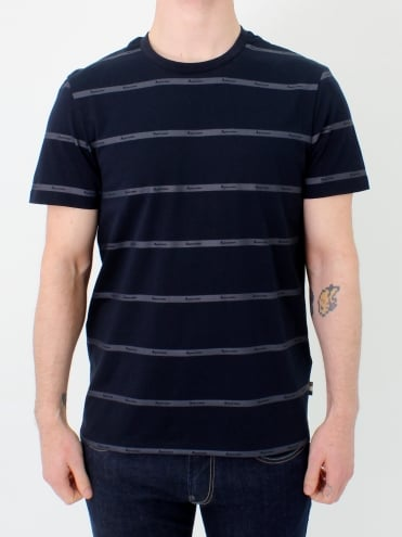 Whillan Aqua Stripe T.Shirt - Navy