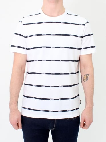 Whillan Aqua Stripe T.Shirt - White