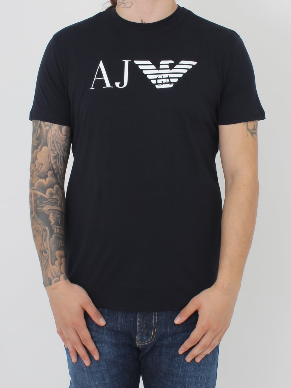 8bc630de1255 Armani Jeans AJ Eagle Logo Crew T.Shirt in Navy - Northern Threads