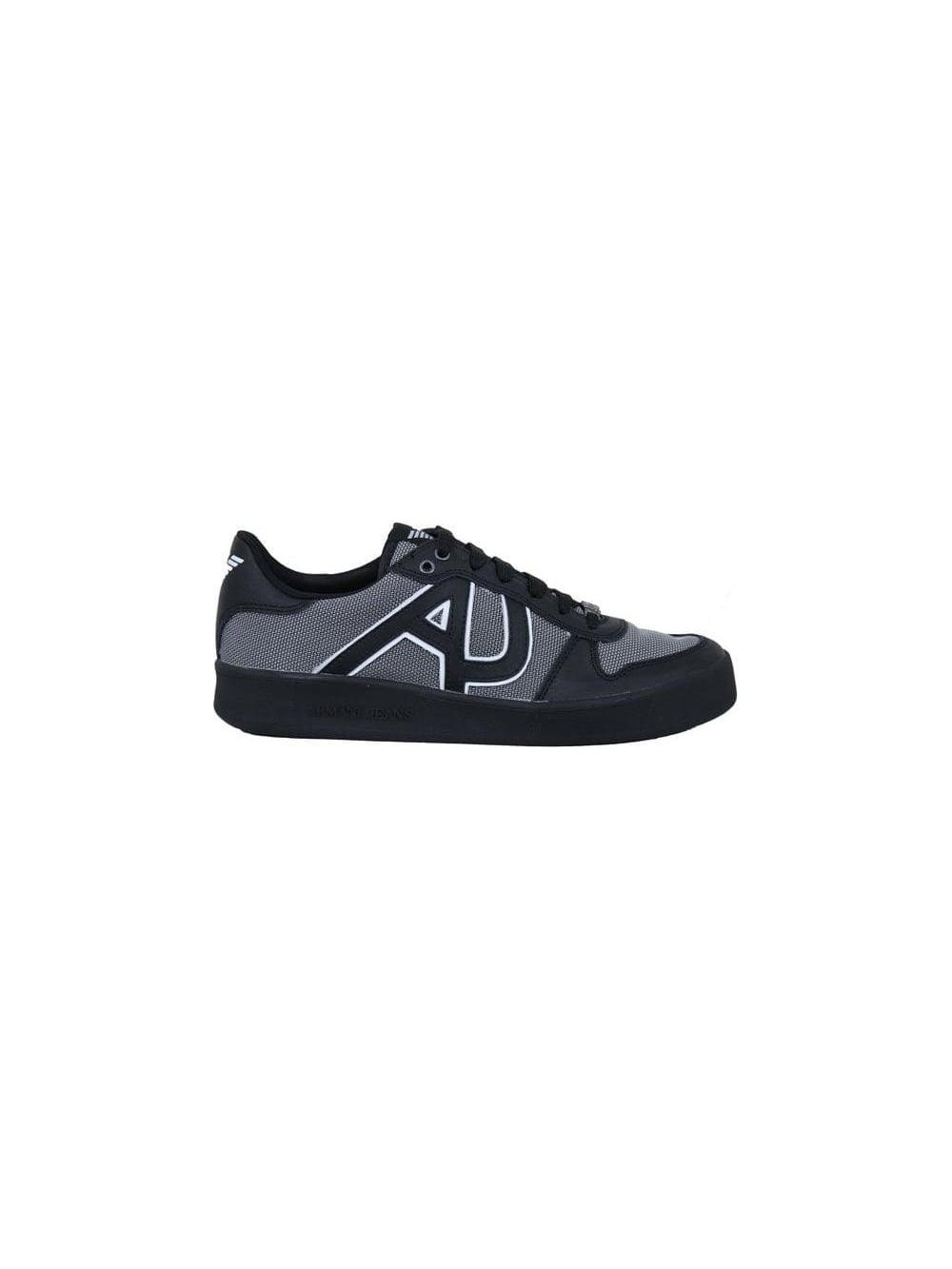 628a8d56 AJ Leather & Mesh Trainer - Black