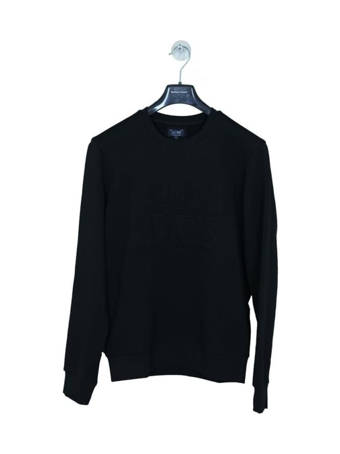 Armani Jeans Embossed Oversize Logo Sweat - Black