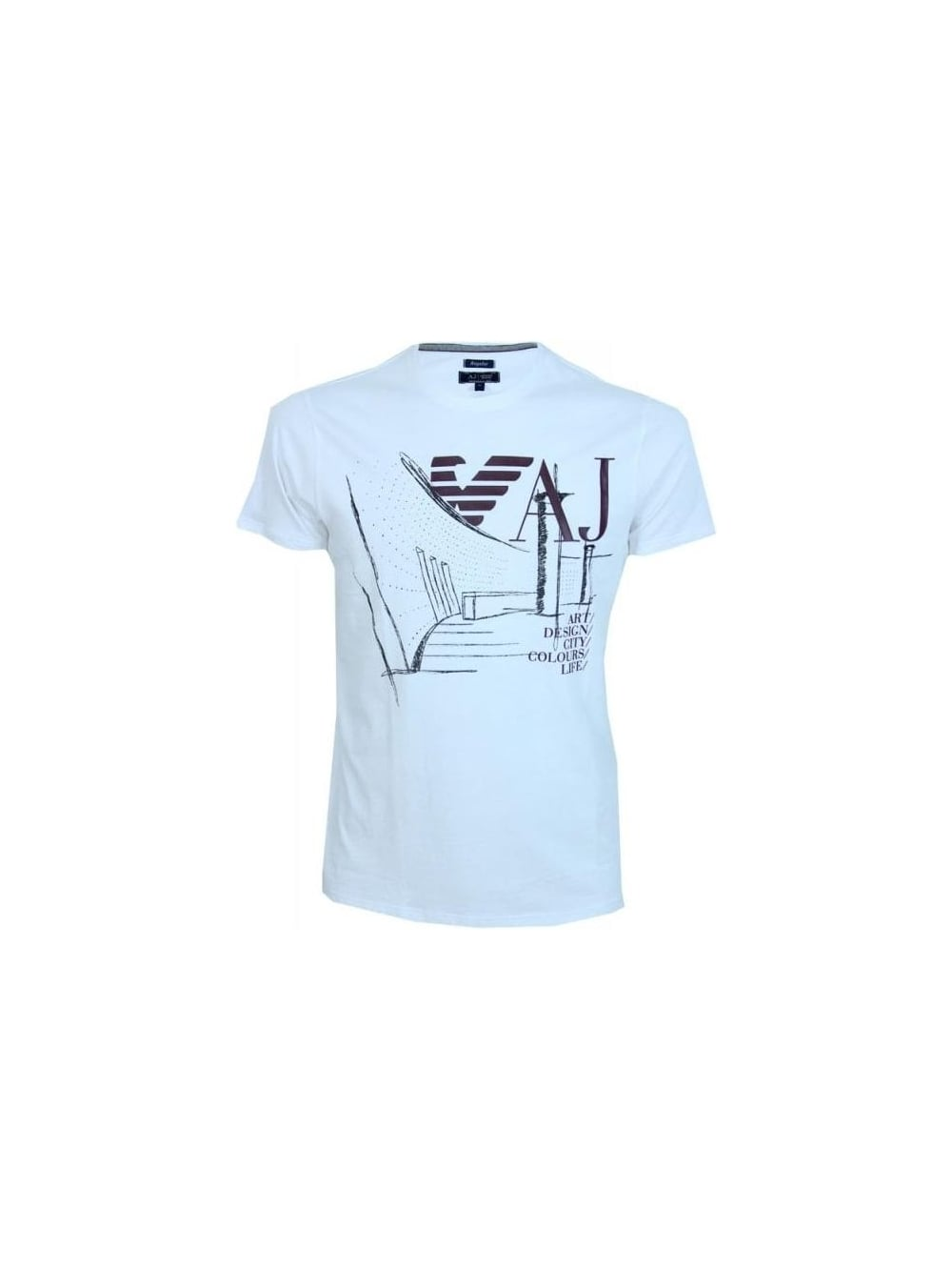 Armani jeans graphic design crew t shirt in white for Graphic design t shirts uk