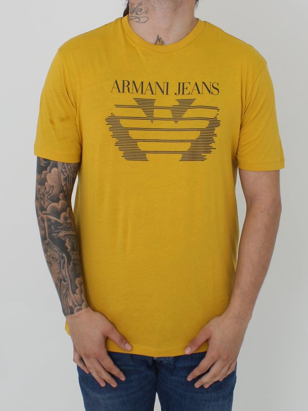 4c1d37ca Line Print Logo Crew T.Shirt - Mustard