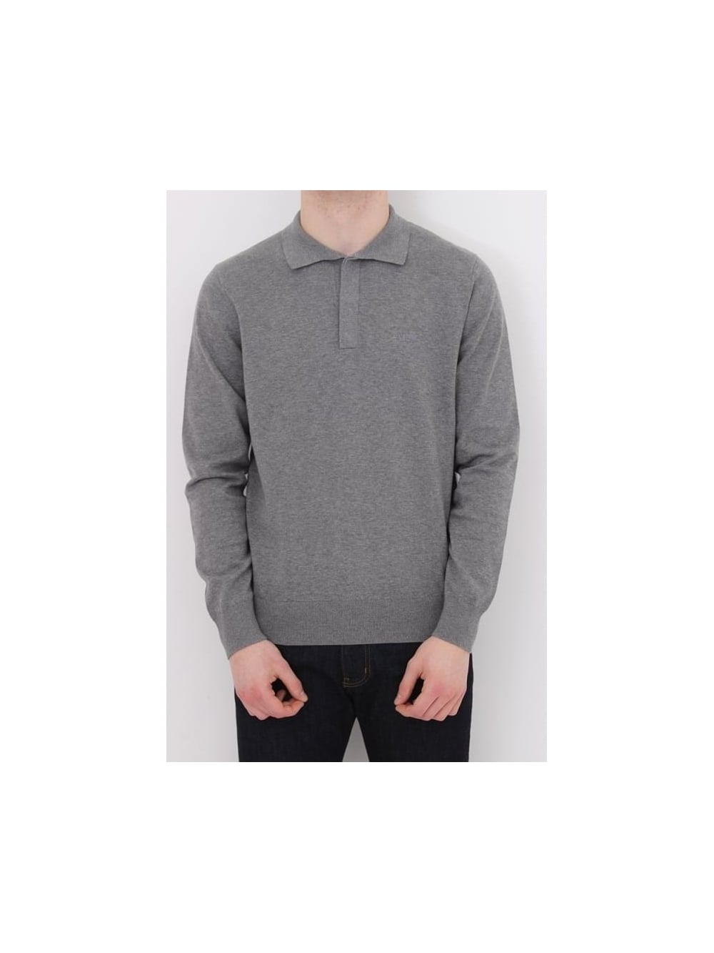 0d4139abf Armani Jeans Long Sleeve Knitted Logo Polo In Grey - Northern Threads