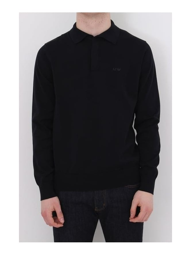Armani Jeans Long Sleeve Knitted Logo Polo - Navy