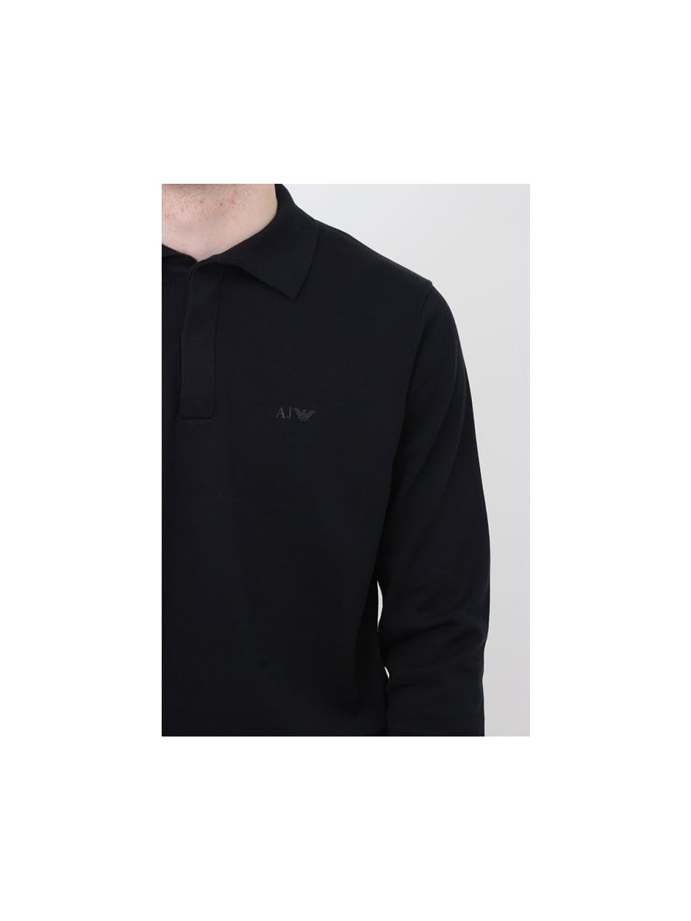 fd67a22a3 Armani Jeans Long Sleeve Knitted Logo Polo In Navy - Northern Threads
