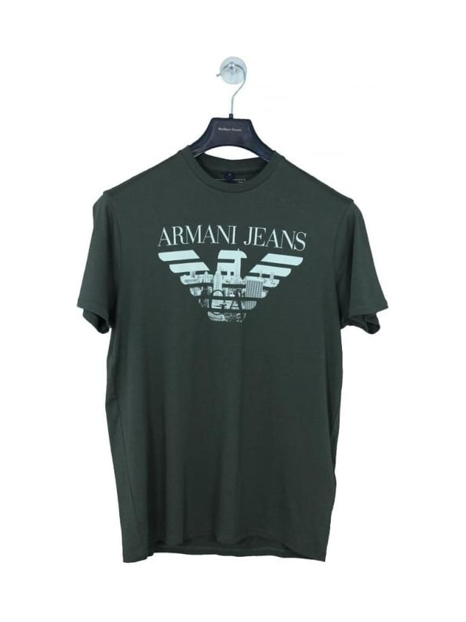 Armani jeans new york skyline logo t shirt in olive for T shirt printing nyc same day