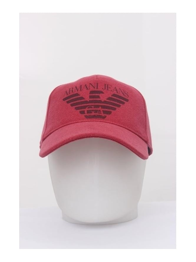 Armani Jeans Oversized Logo Cap - Red