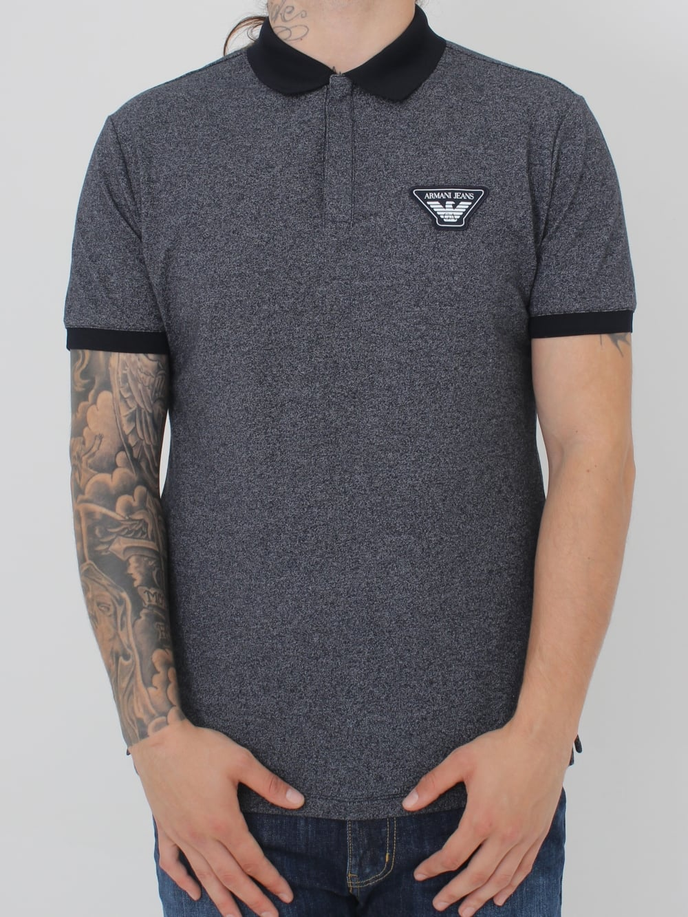 fb9a29382253e Armani Jeans Oversized Logo Contrast Polo in Navy - Northern Threads