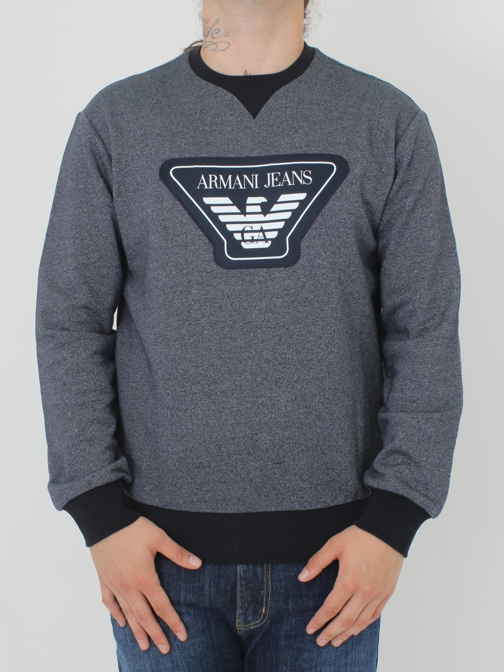 Armani Jeans Oversized Logo Crew Neck Sweat in Navy - Northern Threads 6a9da4637cbf
