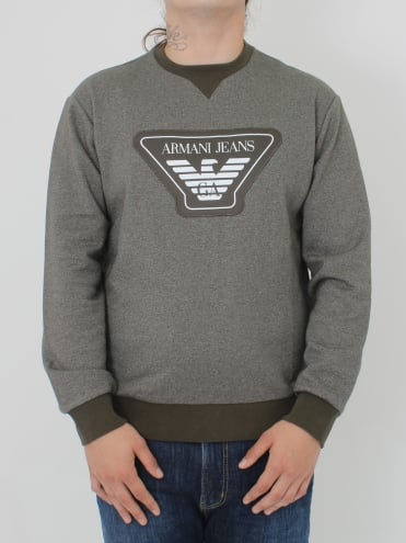 Oversized Logo Crew Neck Sweat - Olive