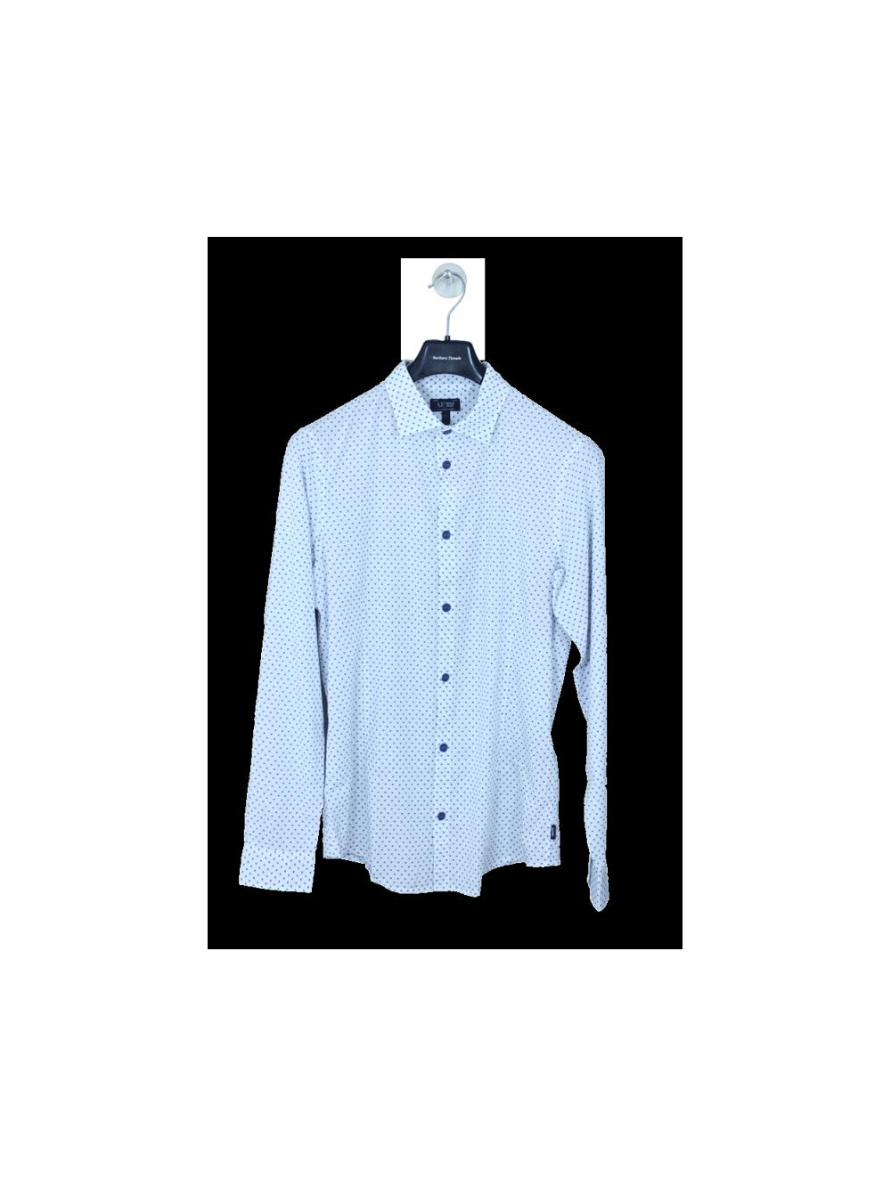 187d369f2 Armani Jeans Polka Dot Shirt in White/Navy - Northern Threads
