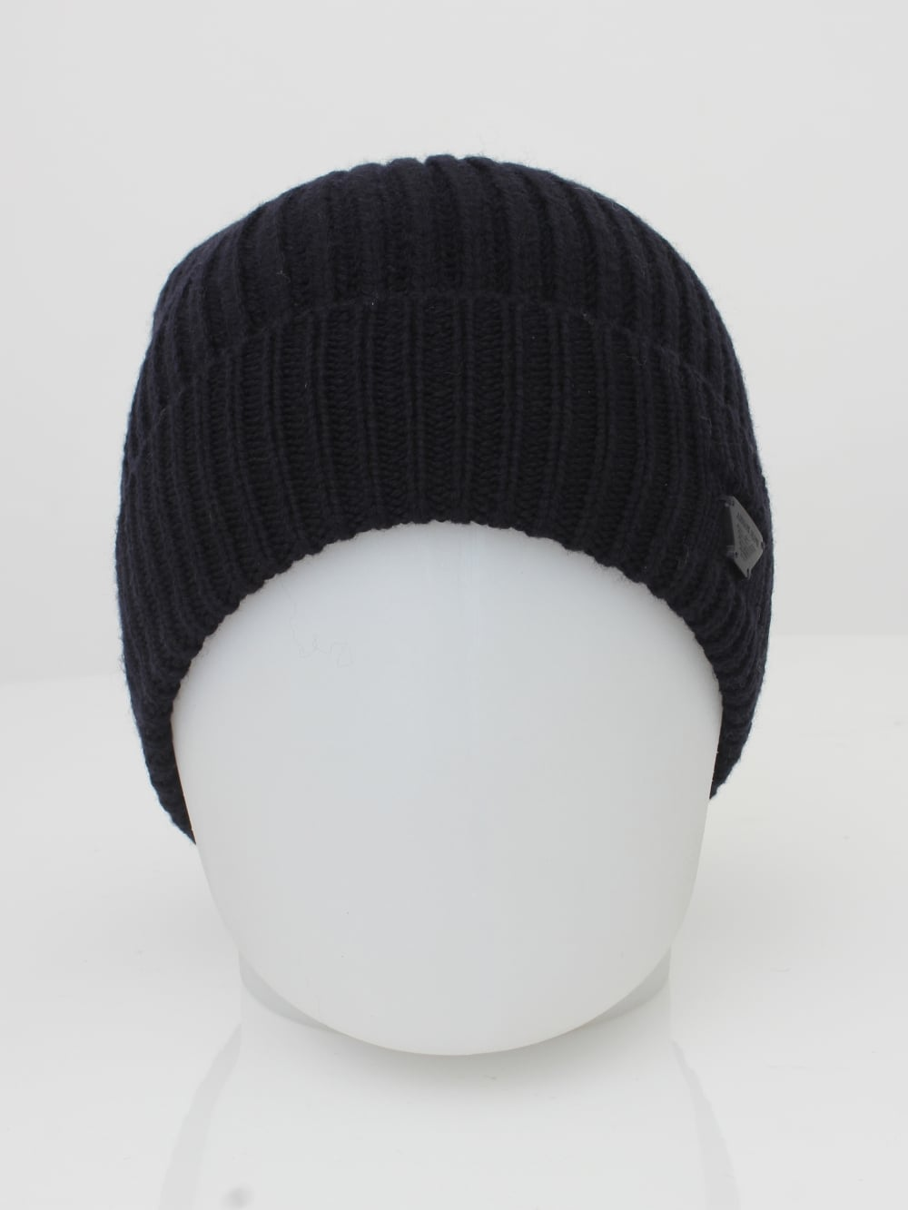 Armani Jeans Ribbed Logo Beanie in Black - Northern Threads f7e6df31b20