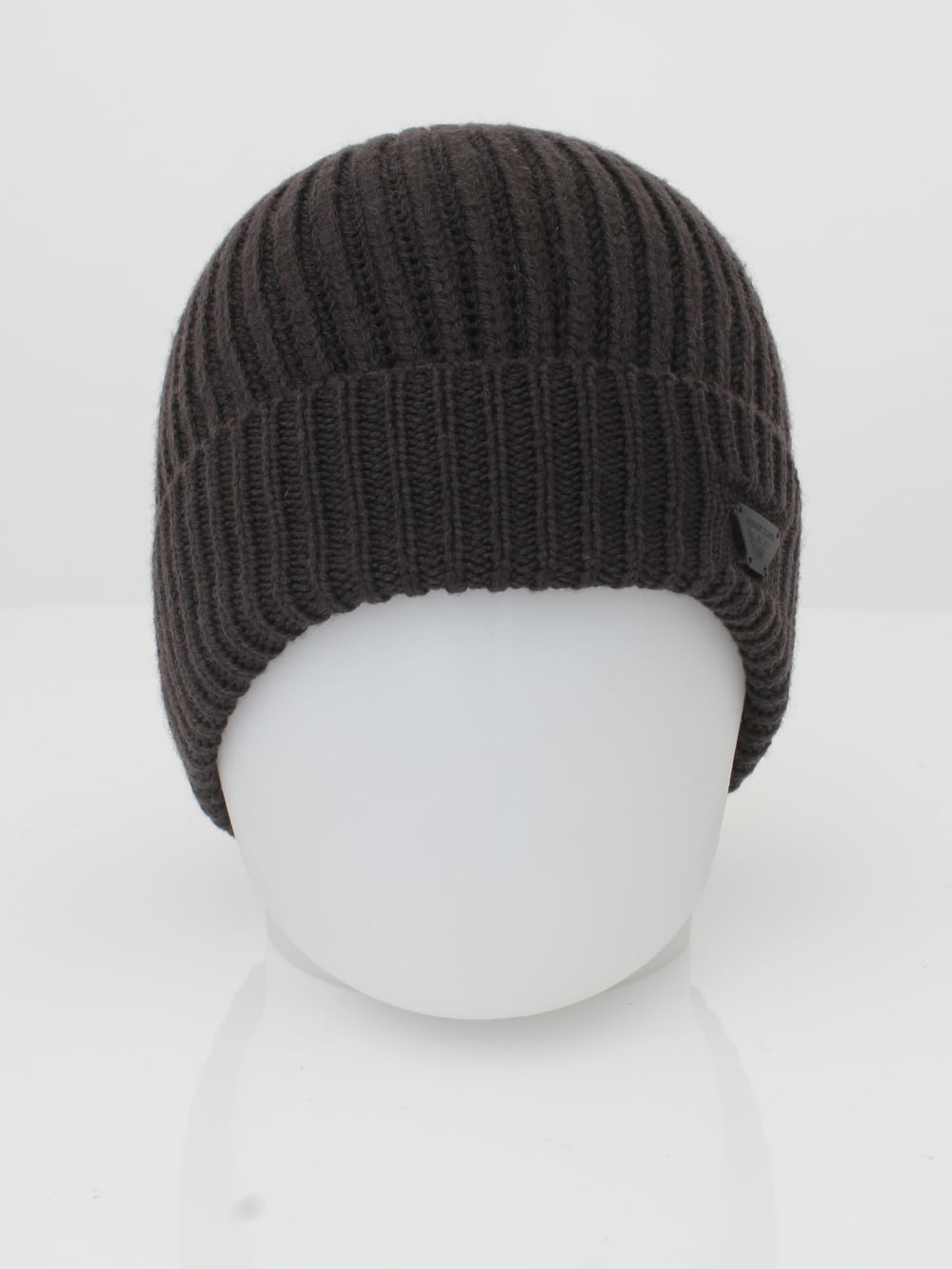 594b7e2c Armani Jeans Ribbed Logo Beanie in Dark Brown - Northern Threads