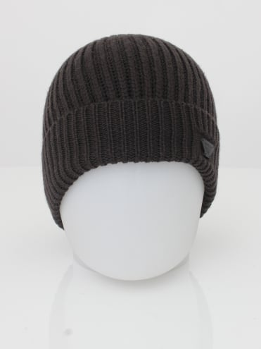 Ribbed Logo Beanie - Dark Brown