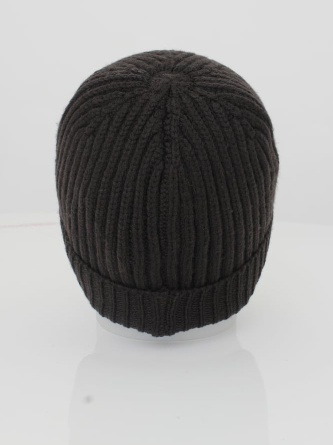 Armani Jeans Ribbed Logo Beanie in Dark Brown - Northern Threads 1a66b902a00