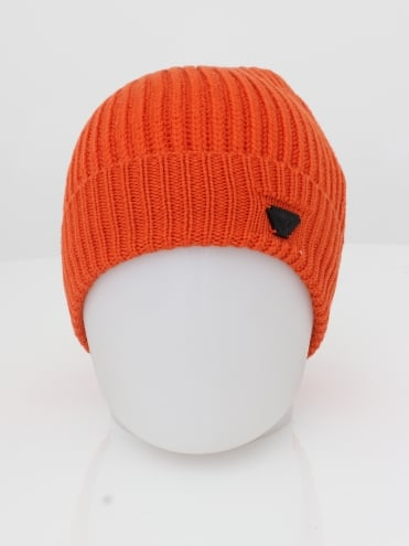 Ribbed Logo Beanie - Orange