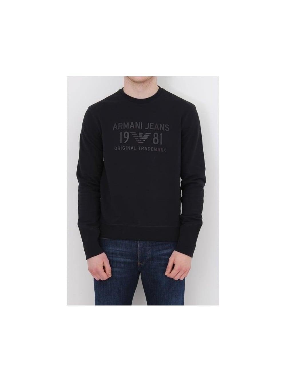 Armani Jeans Rubberised Enhanced Logo Sweat In Dark Navy - Northern ... 4a383d7db399