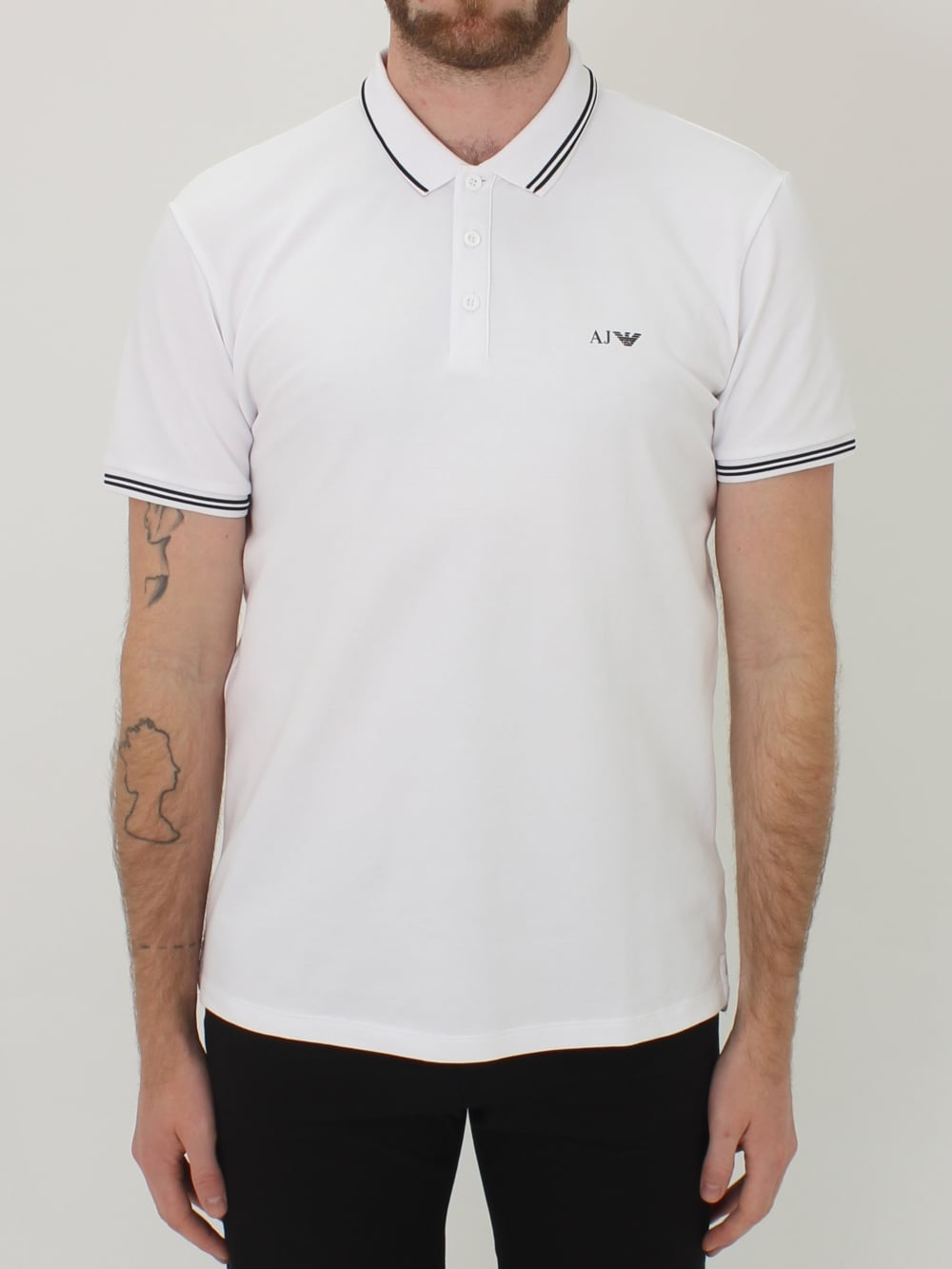 c166560d Armani Jeans Tipped Pique Logo Polo in White - Northern Threads