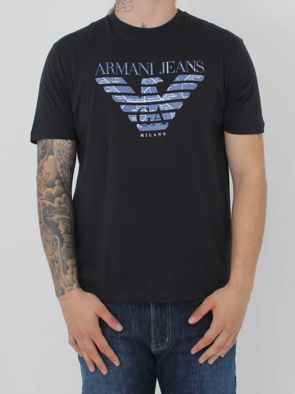 0e41f85ab3d4 Armani Jeans Underground Map Logo T.Shirt in Navy - Northern Threads