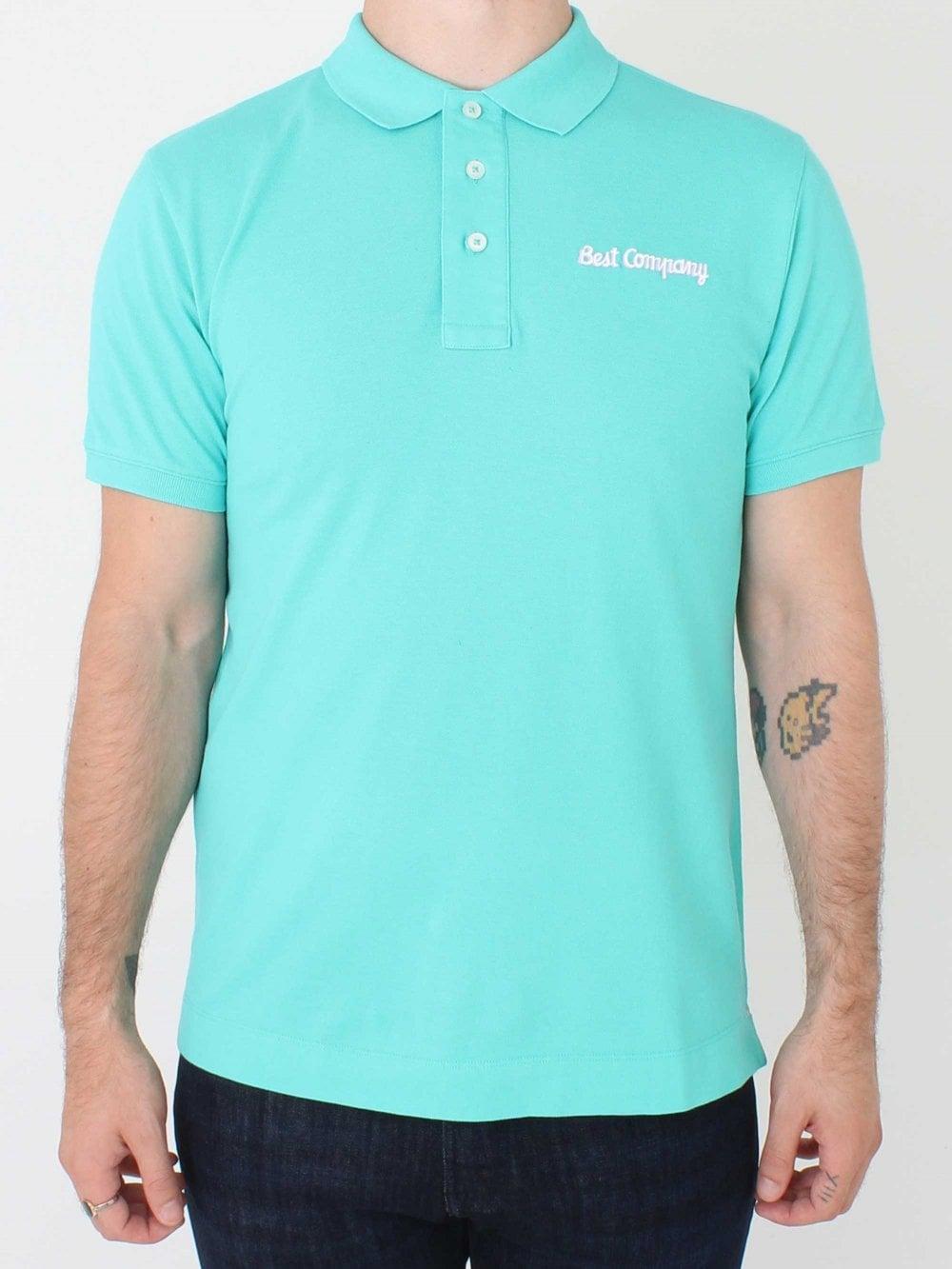 Mens Best Company Basic Logo Polo Turquoise Sale Buy Online Uk