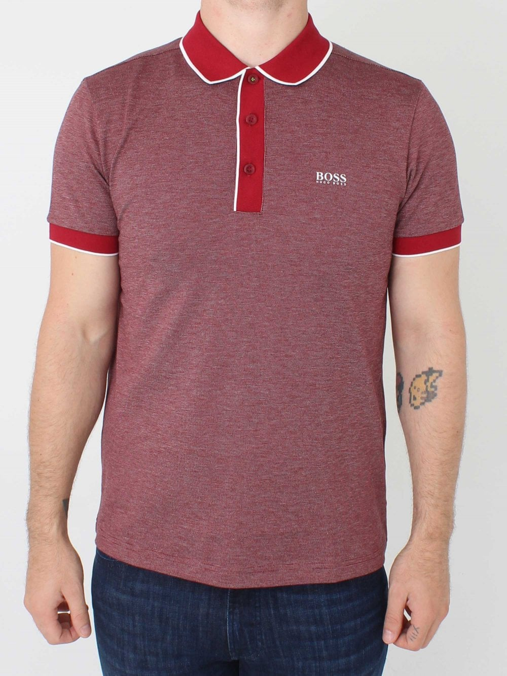 5647dce0d574 Hugo Boss Paddy 5 Polo in Dark Red | Northern Threads