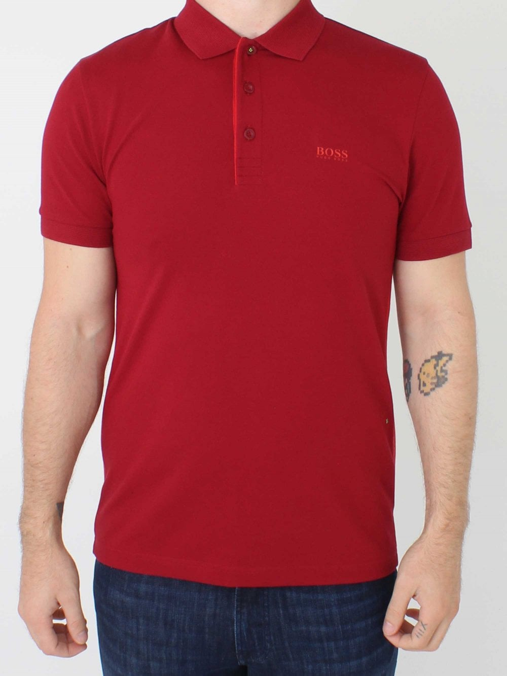 4ce131540 Hugo Boss Paule Polo in Dark Red   Northern Threads